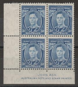 AUSTRALIA 1937 KGVI 3D ASH IMPRINT BLOCK DIE II