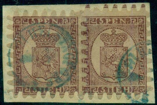 FINLAND #6b 5pen, Roul III, two singles tied on piece by blue town cancel, VF