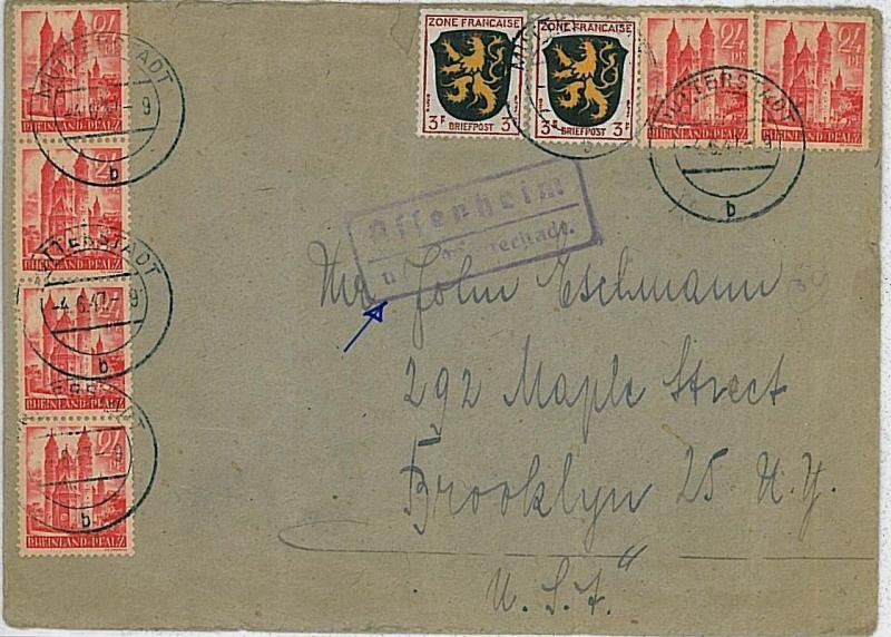 GERMANY \ FRANCE - RHEINLAND PFALZ -  POSTAL HISTORY:  COVER  to USA 1947