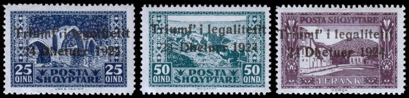 Albania Scott 168-170 (1924) Mint H F-VF, CV $15.25