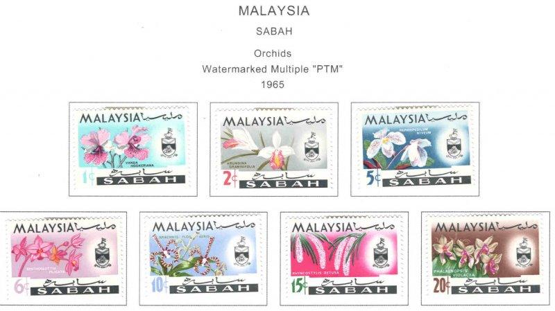 Malaysa Sabah  Scott 17-23 MH* Orchid Flower set