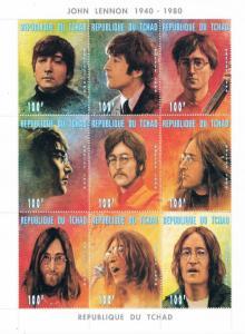 Chad 721 MNH Sheet of 9 Portraits of John Lennon (ML0298)