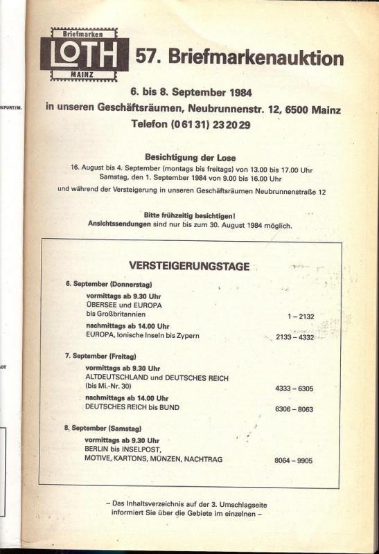 57. Loth-Briefmarken-Auktion: Internationale Briefmarkena...