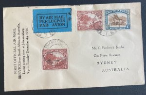 1934 Johannesburg South Africa Flight Flight Airmail Cover to Sydney Australia