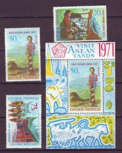 J25026 JLstamps 1971 indonesia set + s/s mh #797-9 798a designs $50.00 + scv