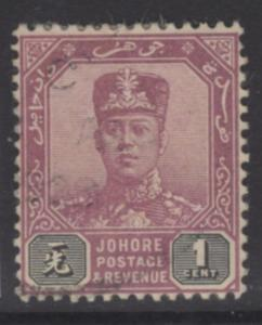 MALAYA JOHORE SG103 1922 1c DULL PURPLE & BLACK USED
