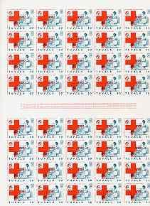 Tuvalu 1988 Red Cross 50c complete imperf sheet of 40 (2 ...