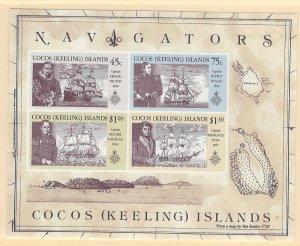 Cocos Islands Scott 221a Souvenir Sheet MNH! Navigarors!