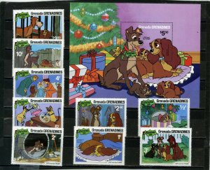 GRENADA GRENADINES 1981 Sc#450-459 DISNEY CHRISTMAS SET OF 9 STAMPS & S/S MNH