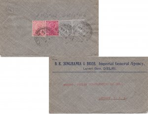 India 1a (2) and 3a (2) KGV 1935 to Detroit, Mich. Reverse franked. Cancel un...