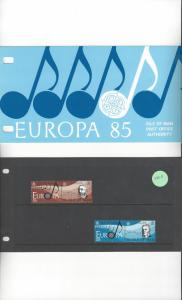 Isle of Man 282-3 Europa 85  MNH Presentation Folder