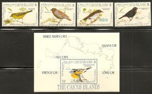 Caicos Islands 60-4 1985 Audubon set and s.s. NH
