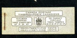 CANADA #249C 252B 254B MINT BOOKLET FVF NH Cat $13