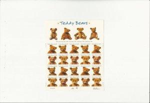 US Stamps/Postage/Sheets Sc #3656a Teddy Bears MNH F-VF OG FV 7.40