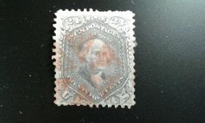 US #70 used red cancel short perfs e21.1 12758