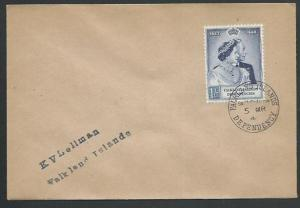 FALKLAND DEPS 1949 Silver Wedding 1/- on cover SOUTH SHETLANDS cds.........61427