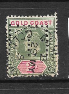 GOLD COAST 1902   2/-   KEVII   FU  PERFIN   SG 45