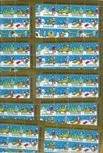 Denmark. 10 Christmas Seal,Sheet 1990, Mnh. Children,Dog,Mailbox.  4 Side Perf.