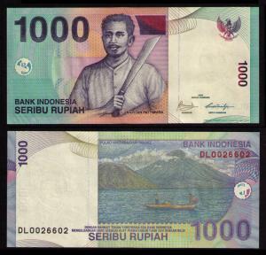 INDONESIA 2009 1000 RUPIA BANKNOTE CRISP UNCIRCULATED PAPER MONEY KP CAT #141j