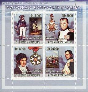 Sao Tome & Principe Military & War Stamps 2008 MNH Napoleon Bonaparte 4v M/S