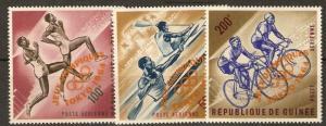 GUINEA SG439/41 1964OLYMPIC GAMES O/PRINT IN ORANGE MNH