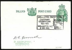 NEW ZEALAND 1975 postcard WELLINGTON CRICKET Centenary cancel..............97600
