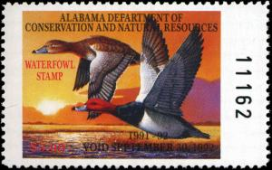 ALABAMA #13 1991 STATE DUCK REDHEADS by Larry Chandler