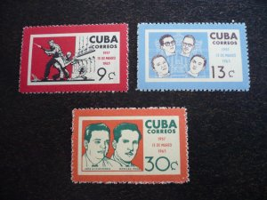 Stamps - Cuba - Scott# 780 -782 - Mint Hinged Set of 3 Stamps