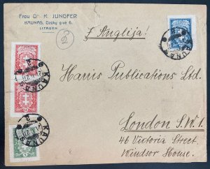 1927 Kaunas Lithuania Commercial cover To London England