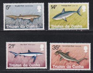 Tristan da Cunha # 302-305, Sharks, NH, 1/2 Cat.