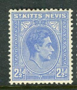 ST. KITTS; 1938 early GVI issue fine Mint hinged Shade of 2.5d. value