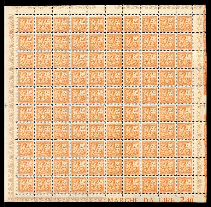 Italy 1941 2.40 L Fascist Social Security Stamp Mint Sheet #315A