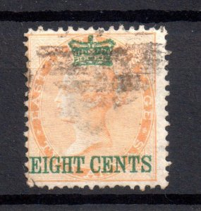 Straits Settlements 1867 8c on 2A fine used SG6 WS15556
