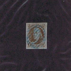 SC# 1b USED 5C FRANKLIN, BLUE GRID CANCEL, 1847, 2004 PF CERT, GOOD CAT VALUE
