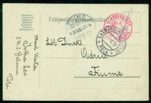 "1917, Hungary Naval card, ship ""BELLONA"" red circular ship cancel, VF"