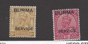 Burma, O9-O10, Official Stamps Singles,**LH**