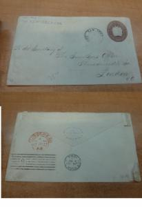 Costa Rica PSE 1894 10c to London England, backstamps