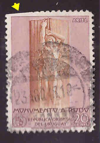 Uruguay Scott 562 Used stamp cut perfs at top