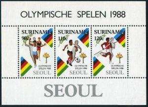 Surinam 814a,MNH.Michel Bl.47. Olympics Seoul-1988:Relay,Soccer,Pole Vault.