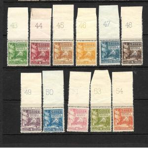SAMOA  1921  HUT  PART SET 11   PLATE SINGLES  MNH/MLH   SG 153/64
