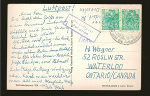 Germany DDR 227 Pair on PM 1960 to Canada Postcard Used