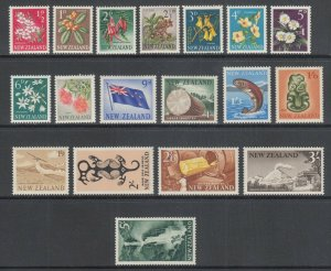 New Zealand Sc 333/350 MLH. 1960-1966 definitives, 18 from set of 21, F-VF