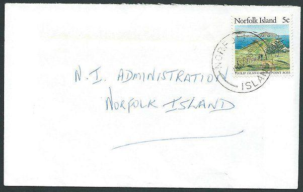 NORFOLK IS 1989 5c local rate cover - 5c Philip Island.....................43077