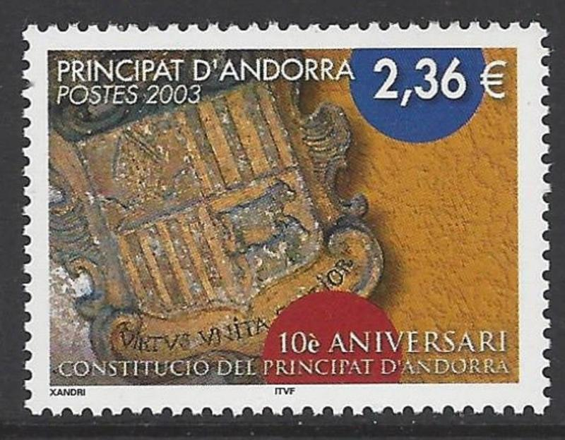 Andorra French 2003 Constitution VF MNH (567)