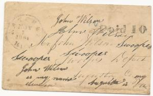 CSA Cover Natchez, MS Handstamp Paid 10 Type III November 2, 1861