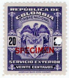 (I.B) Colombia Revenue : Consular Service 20c (ABN Specimen)