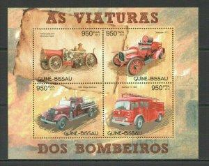 Guinea-Bissau MNH S/S Antique Fire Trucks