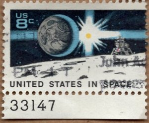 Scott 1434 Moon Landing - Used Single With Plate Number