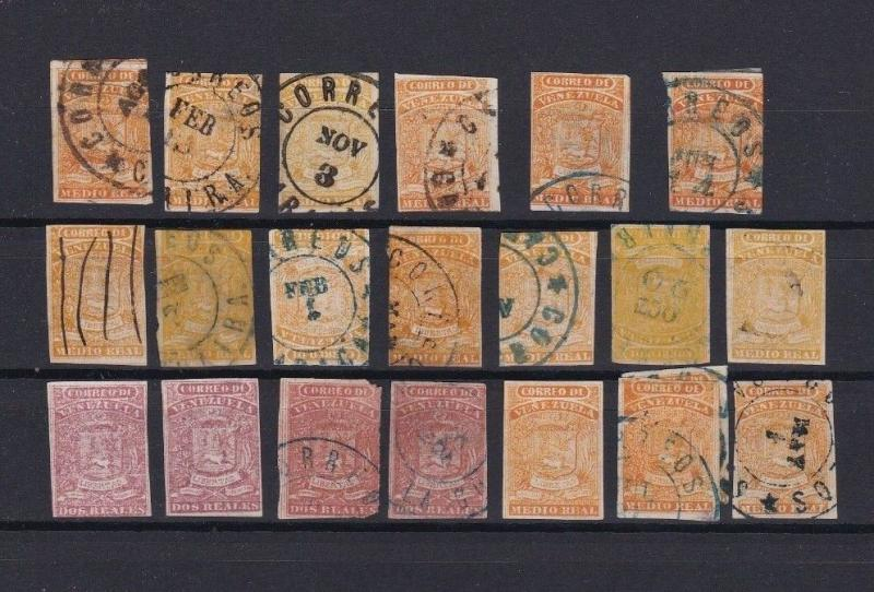 VENEZUELA 1859 IMPERF  COAT OF ARMS STAMPS CAT £270+    REF 4595
