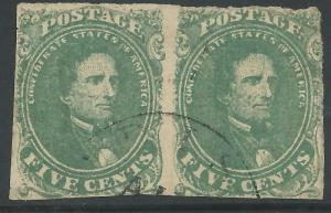 CSA Scott #1 Stone 2 Pos 36-37 Used Pair of Confederate Stamps Unidentified CDS